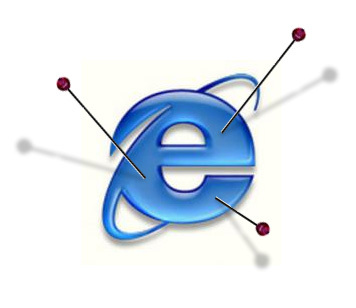 internet explorer logo with pins
