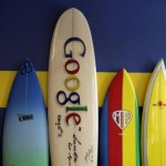 Surfboards lean against a wall at the Google office in Santa Monica