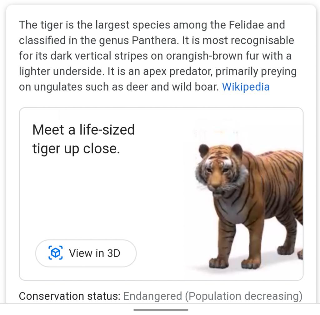 Google 3D animals في محرك البحث : اليك القائمة كاملة 1
