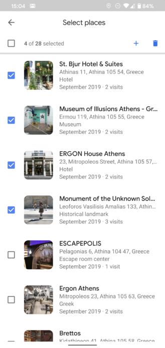 خرائط جوجل تتيح الحذف المجمع لزيارات التايم لاين 1