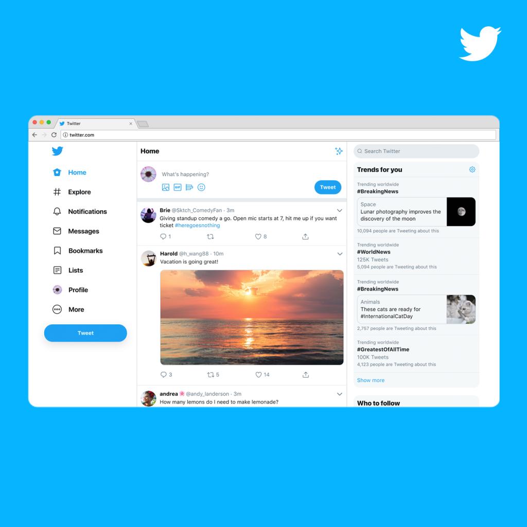 تويتر تطلق رسمياً الشكل الجديد لموقعها على الويب