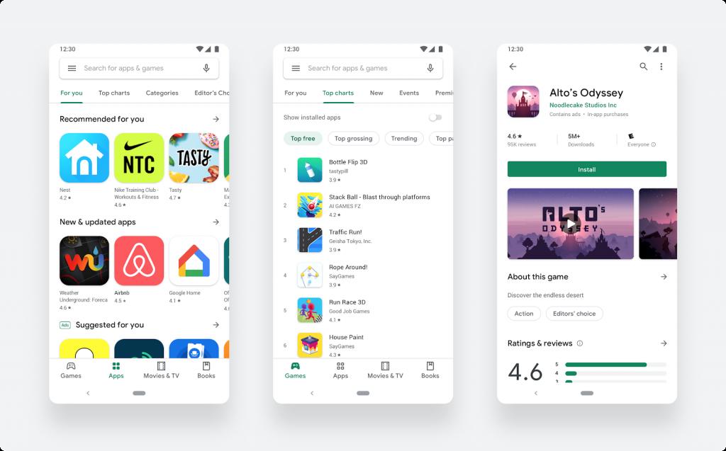 جوجل تعيد تقديم متجر جوجل بلاي على هواتف الاندرويد بشكل جديد