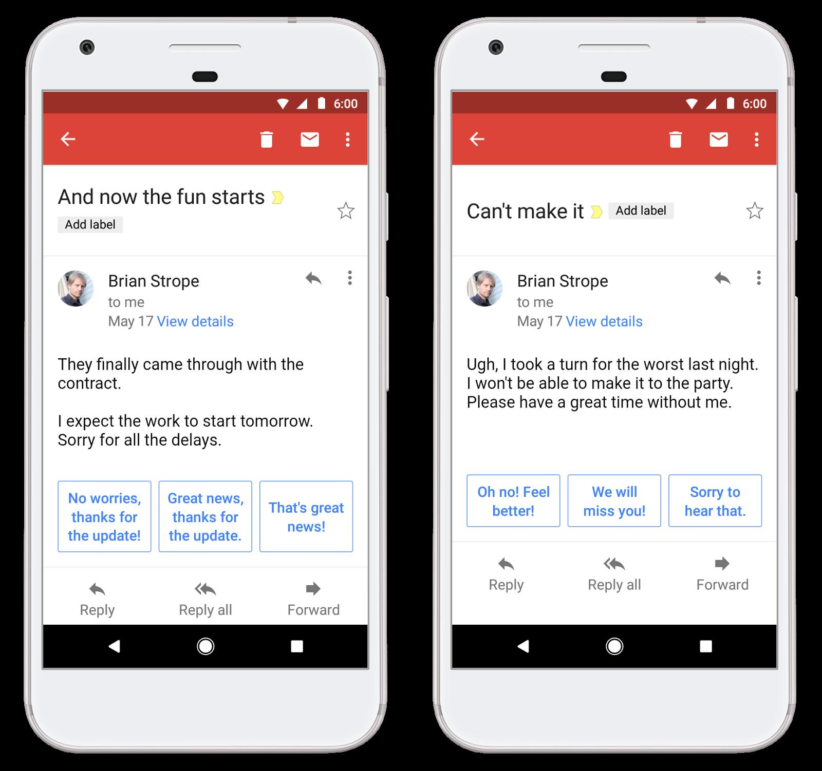 ميزة (الرد الذكي ) أروع ما في تطبيق جيميل الان : ننتظر اللغة العربية يا جوجل 1