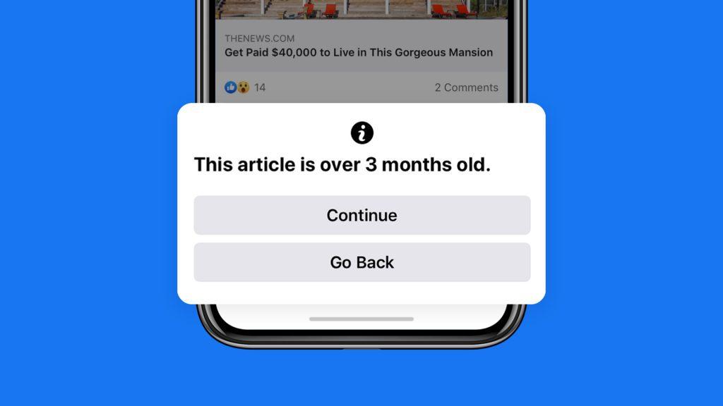 فيس بوك ستحذرك عند مشاركة مقال تم نشره قبل 90 يوم أو أكثر