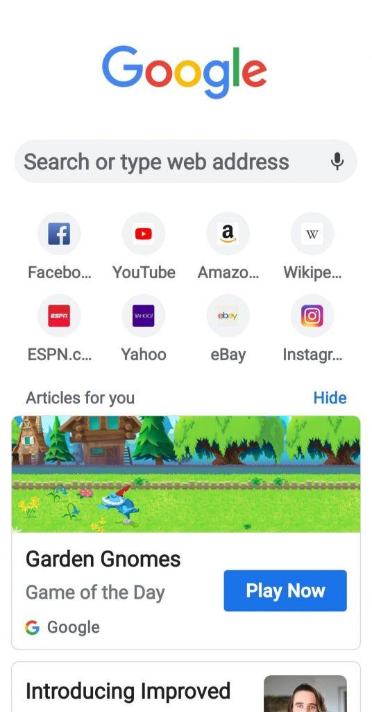 جوجل كروم للاندرويد يضيف (لعبة اليوم) في صفحة البداية : احصل عليها الان 1