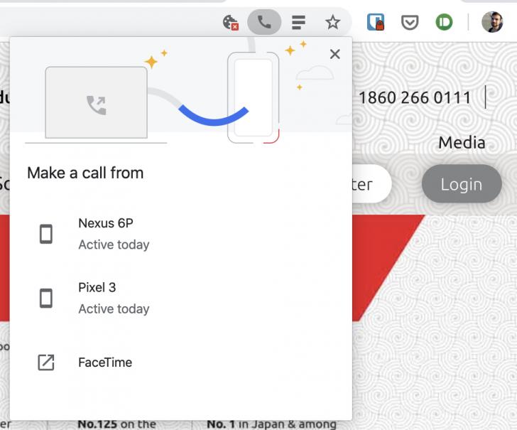 متصفح كروم يسمح الان بارسال ارقام الهواتف من سطح المكتب الى هاتفك للاتصال