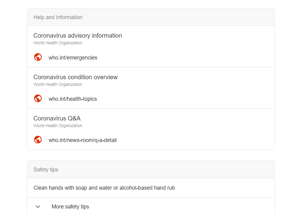 محرك بحث جوجل ينشر نصائح كورونا عند الاستعلام عن الاسم