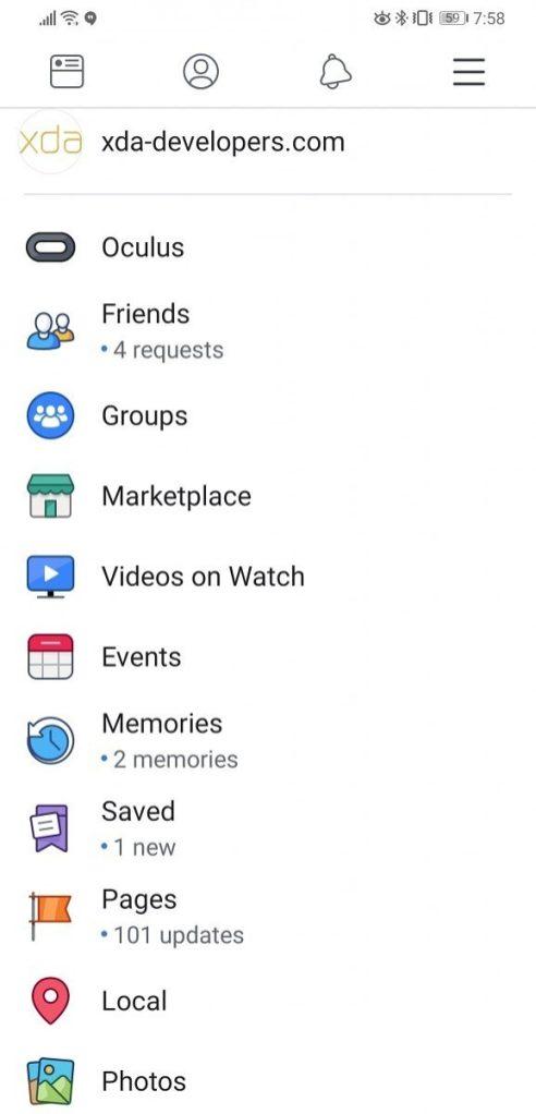 فيس بوك تختبر تصميم جديد لتطبيق الاندرويد 1