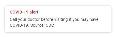 خرائط جوجل تعرض رسالة تحذير عن كورونا عند البحث عن مساعدة طبية 1