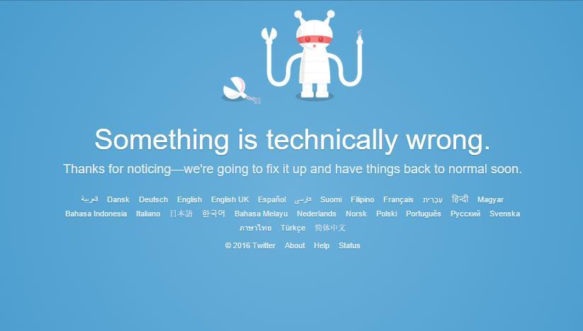 صورة [محدث : عاد للعمل] تويتر خارج الخدمة الأن لاسباب مجهولة