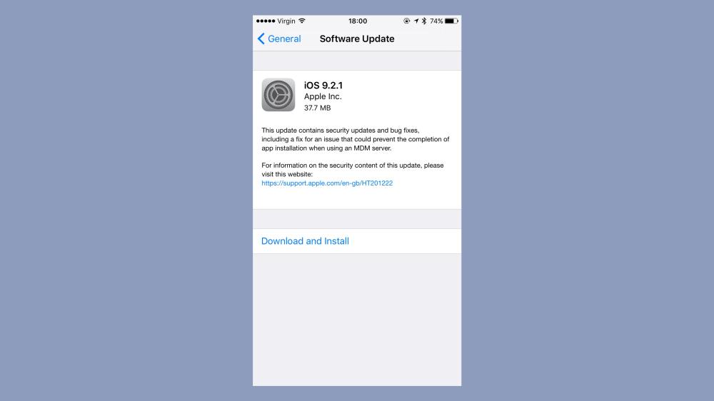 صورة ابل تطلق الاصدار iOS 9.2.1 لحل مشاكل أمنية