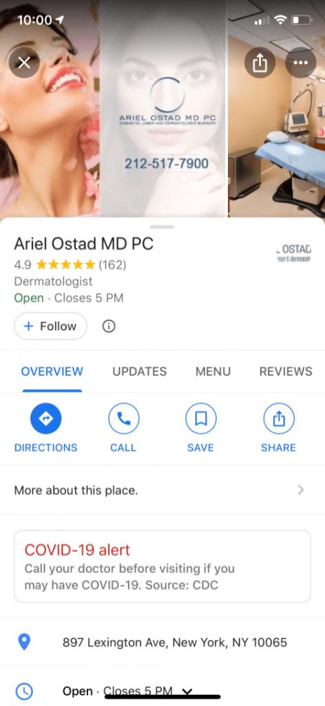 خرائط جوجل تعرض رسالة تحذير عن كورونا عند البحث عن مساعدة طبية 2