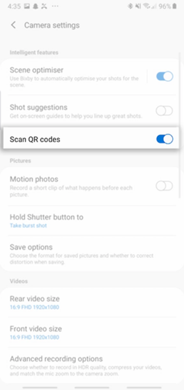 كيف تمسح QR Code في هواتف سامسونج عبر تطبيق الكاميرا 4