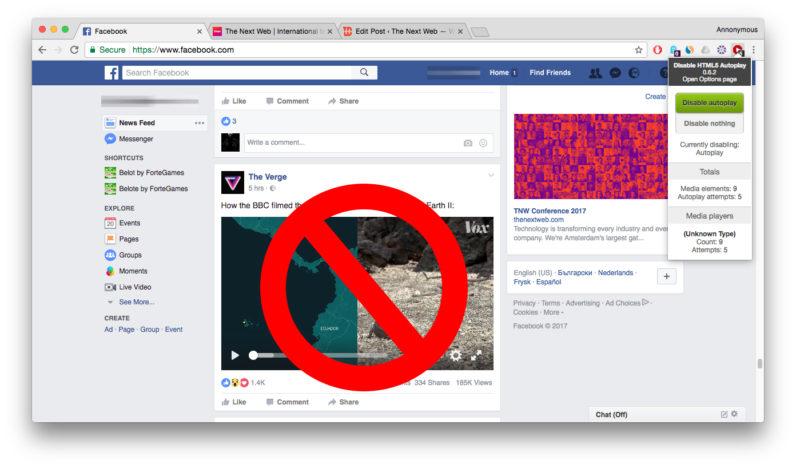 صورة وداعاً للازعاج : اضافة لمتصفح جوجل كروم تعطل التشغيل الالي للصوت والفيديو في اي موقع (الفيس بوك ايضاً)